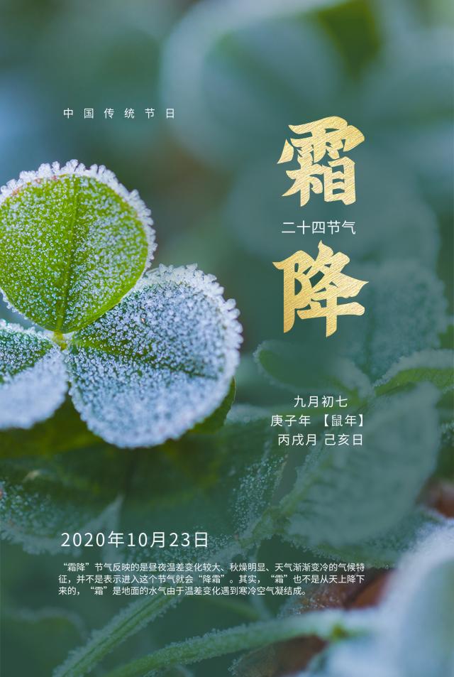 富贵布施二十四节气霜降海报
